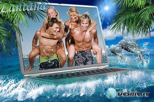 Рамка для фото - Море и ноутбук