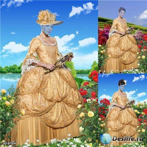 Женский костюм для фотомонтажа – Среди цветов