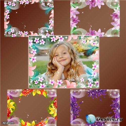 Набор рамок для фотошопа – Забавные цветочки