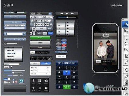 PSD-исходник для фотошопа - iPhone GUI