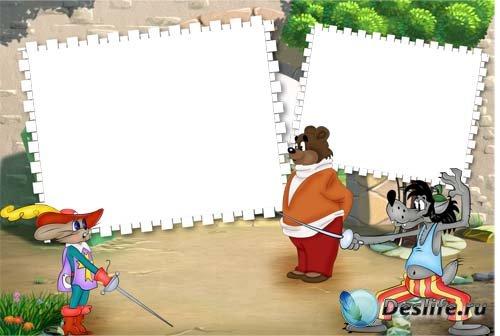 Фоторамка с героями мультфильма «Ну погоди!»