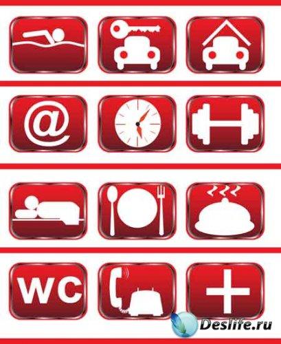 Векторные красные иконки