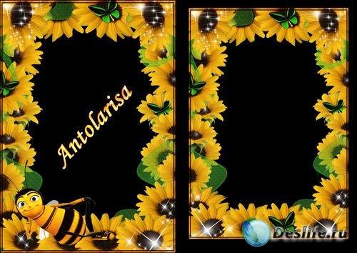 Рамки для фотошопа - Подсолнухи и пчелка