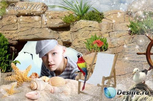 Детская рамка для Photoshop - Каменистый пляж