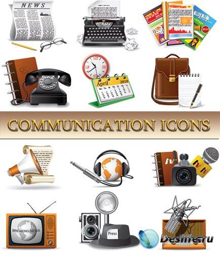 Векторные иконки - Коммуникации и Связь
