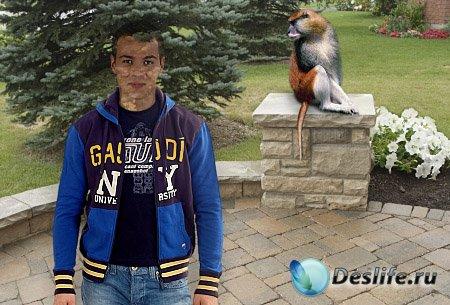 Мужской костюм для фотошопа - Парень и обезьянка