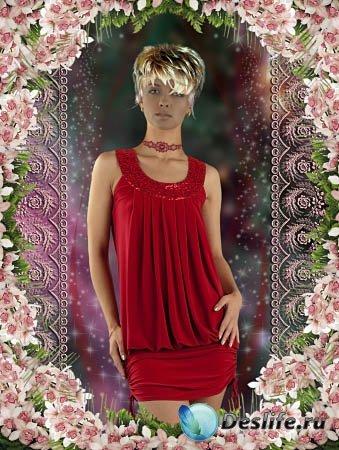 Женский костюм  для фотошопа - Девушка в красном платье