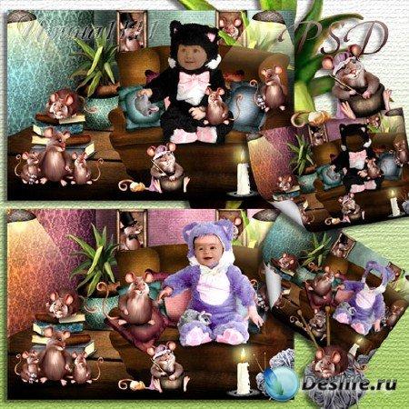 Детский костюм для фотошопа - Котенок и мышата