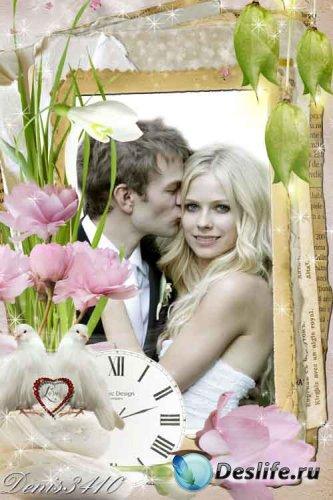 Романтическая, цветочная рамка для Фотошопа - Время романтики