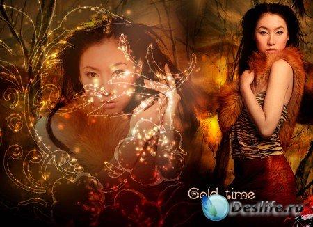 Шаблон Gold time PSD для фотошопа