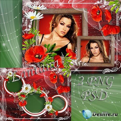 Рамка для фото - Красные маки всем сердцем люблю