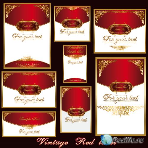 Векторные винтажные красные этикетки