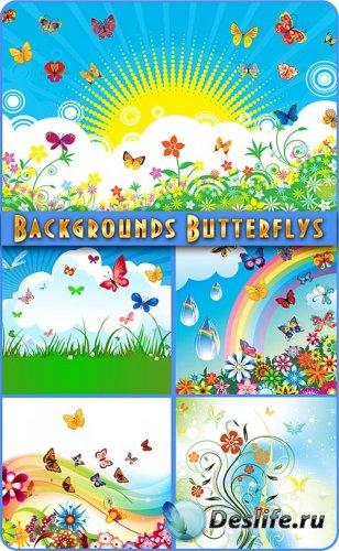 Красочные, летние фоны с бабочками в векторе