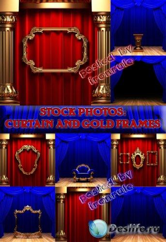 Фото-сток: Занавес и Золотые Рамки