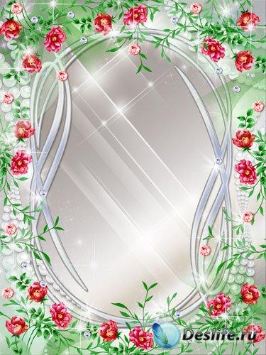 Рамка для фото - Красные цветы
