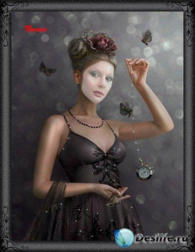 Женский костюм для фотошопа - Девушка с часами