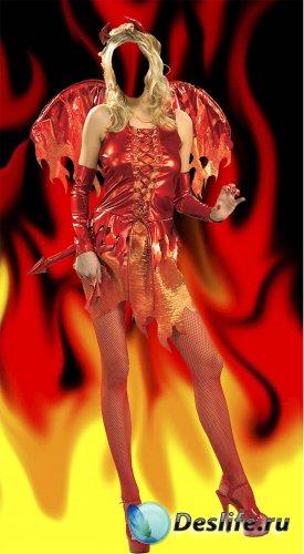 Костюм для фотошопа - Девушка огонь