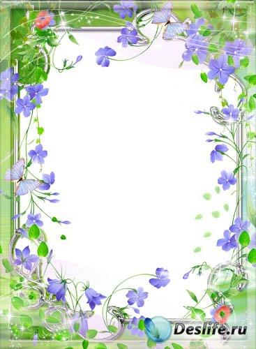 Рамка для фотошопа – Милые, нежные, голубые цветочки