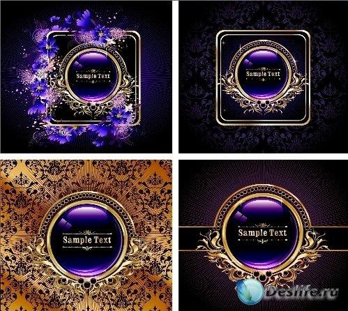 Золотые и фиолетовые векторные фоны