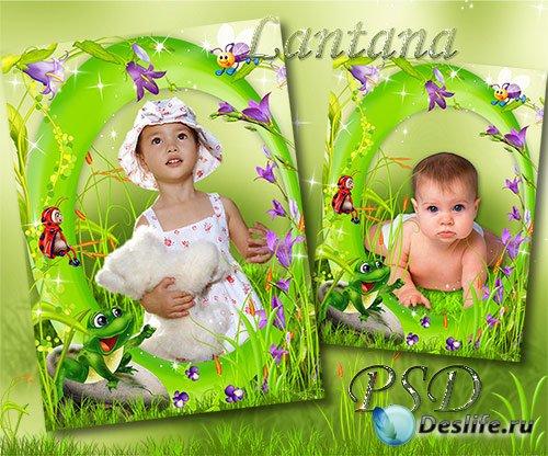 Детская рамочка для фотошопа - Колокольчики мои, цветики степные