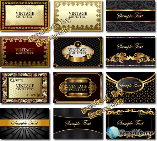 Винтажные золотые карточки, визитки