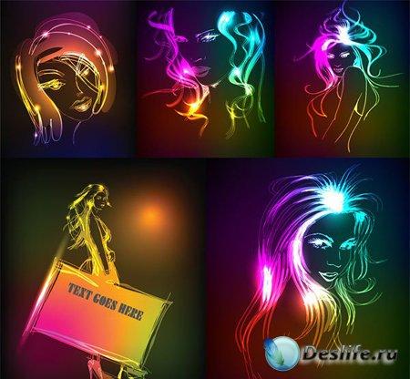 Векторные неоновые девушки / neon girls vector