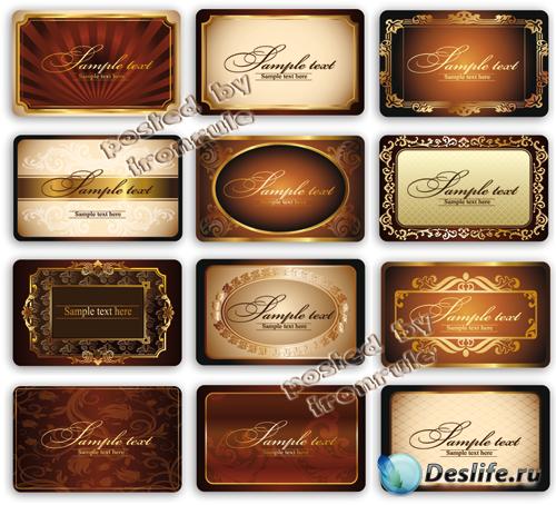 Винтажные золотые карточки, визитки -2