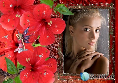Рамка для фото Красный цветок