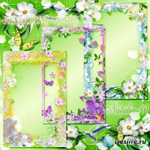 Сборник цветочных рамочек для оформления фото - Летний сезон