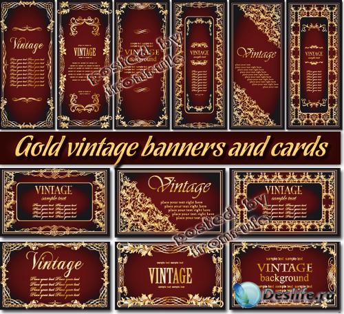 Золотые винтажные баннеры и визитные карточки - 2