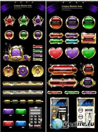 Векторный клипарт - Роскошные кнопки и иконки