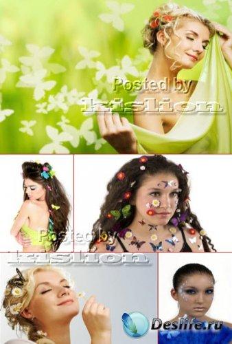 Клипарт – Девушки, Бабочки и Цветы