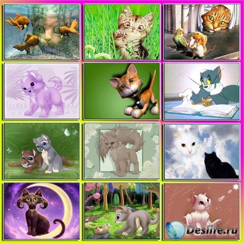 Детские обои - Мультяшные кошки
