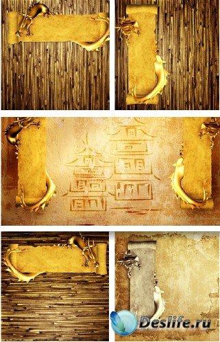 Золотые фоны с драконом | Dragon backgrounds