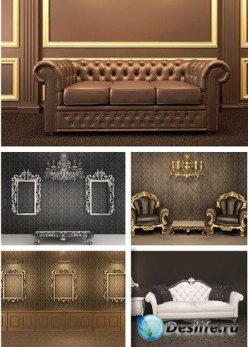 Мебель и интерьер в винтажном стиле - растровый клипарт | Vintage Interior
