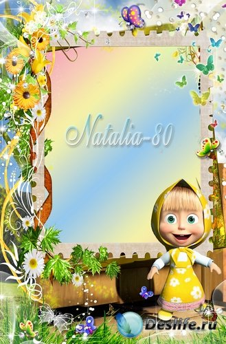 Яркая детская рамочка для фото с героями м/ф Маша и медведь - Большая стирк ...