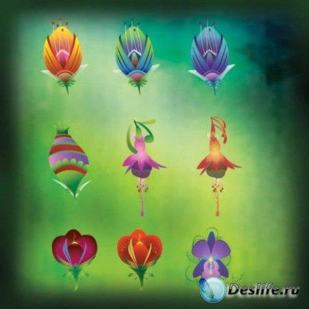 Вектор - Цветочные иконки