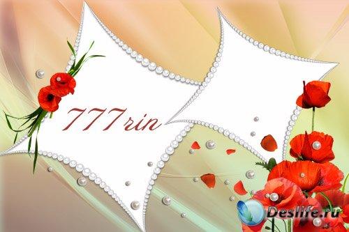 Женская цветочная рамка – Маки и жемчуг