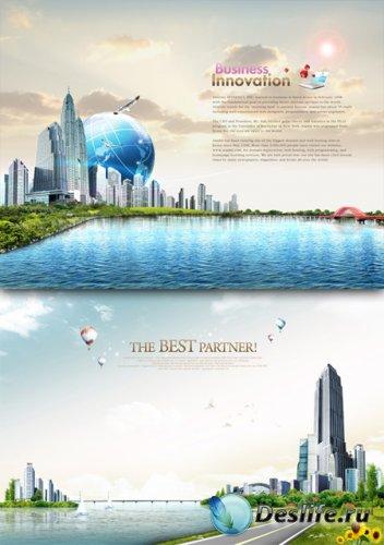 PSD исходник для фотошопа - Город возле океана