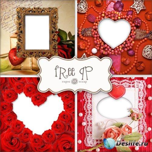 Романтические Скрап-странички (Рамки) Для Фото ко Дню Святого Валентина