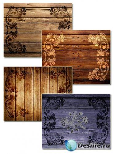 Текстуры для фотошопа - Декоративные узоры на дереве