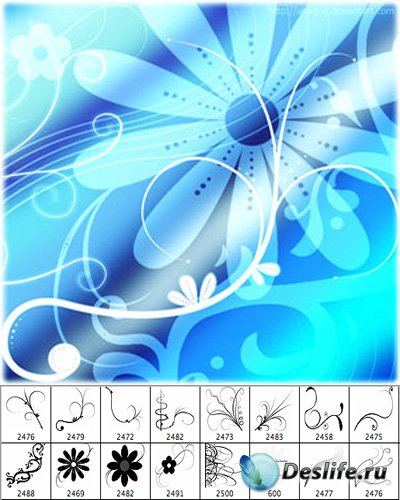 Кисти цветы и линии для фотошопа
