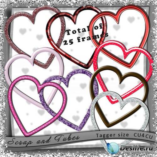 25 PNG Рамки-вырезы в Форме Сердца