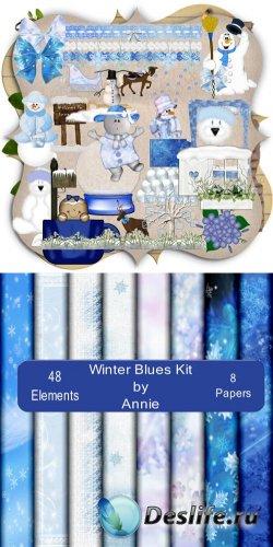 Скрап-набор - Морозная Голубая Зима