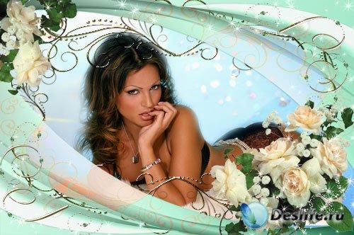 Рамочка для фотошопа - Белых роз очарование