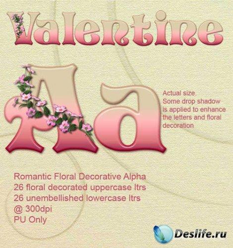 Скрап-набор - Романтический Цветочный Декоративный Алфавит