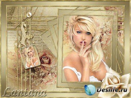 PSD рамка для фотошопа - Роза золотая