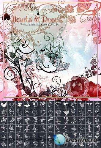 Кисти для фотошопа - Розы и сердца