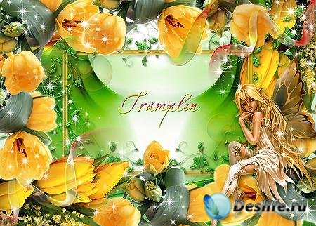 Рамка с тюльпанами – Крылатая красавица, как феям полагается