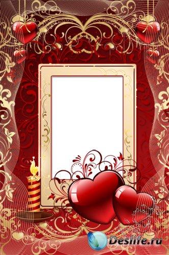 Романтическая рамочка для фото - Валентинка со свечками
